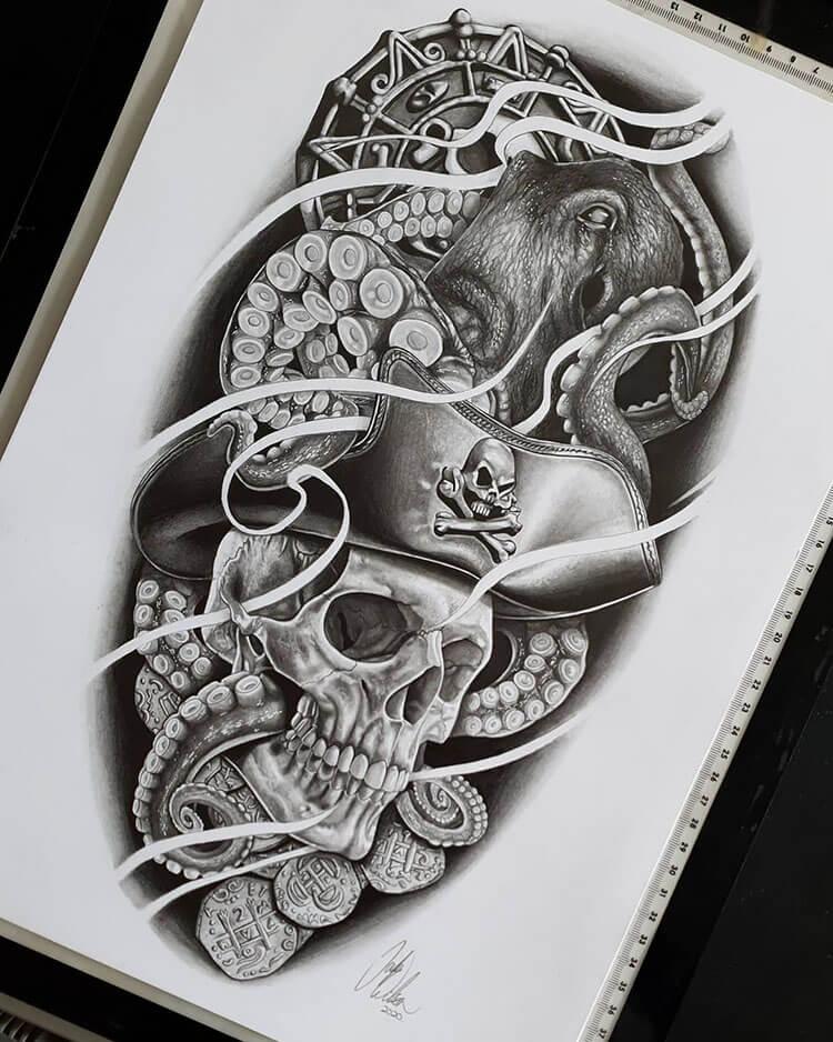 dibujo de calavera pirata