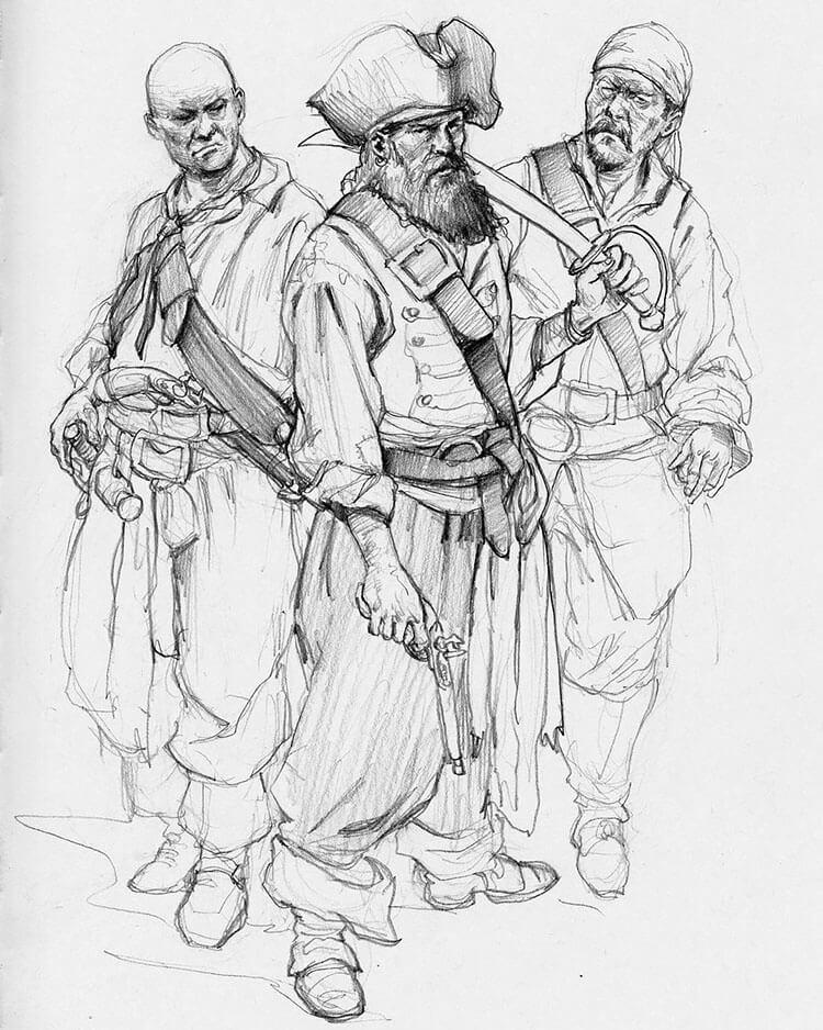 bosquejo de tres piratas