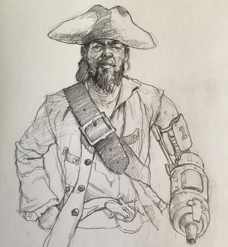 pirata con mano de gancho