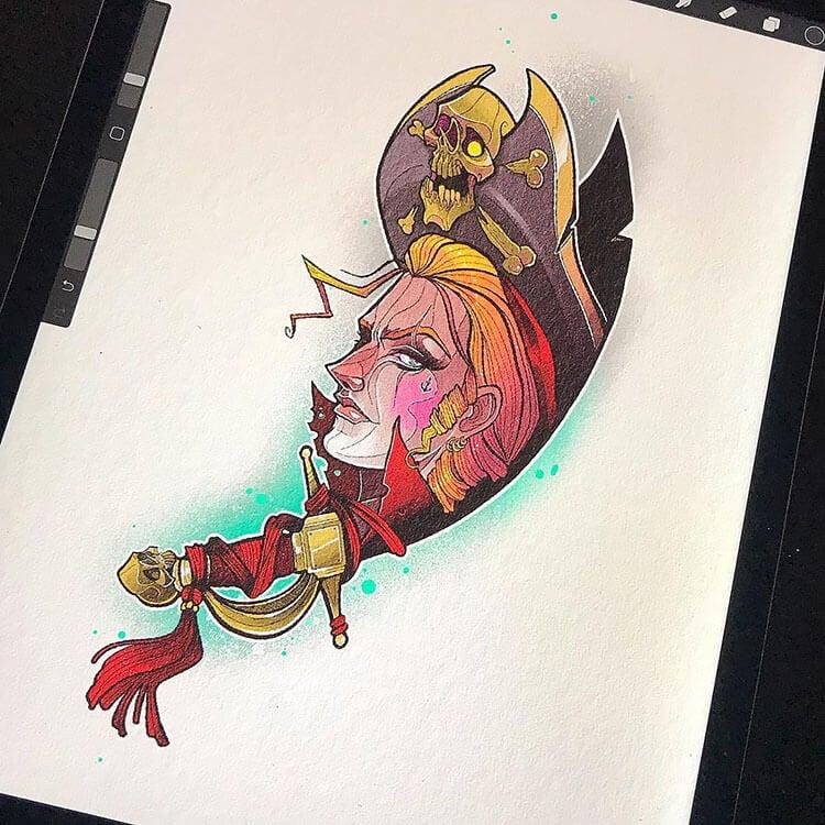 pirata femenino colorido