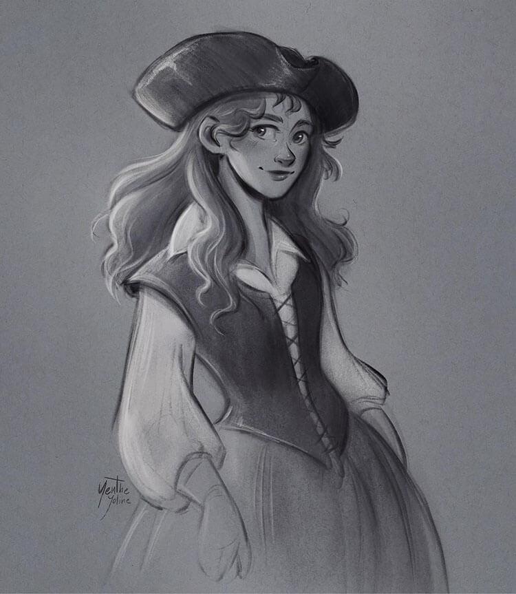 mujer pirata dibujo