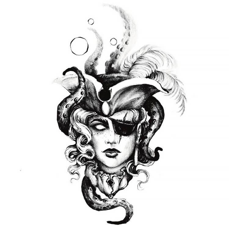dama pirata con tentáculos