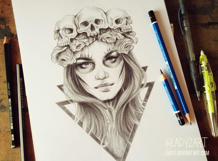 woman wearing skull crown drawing