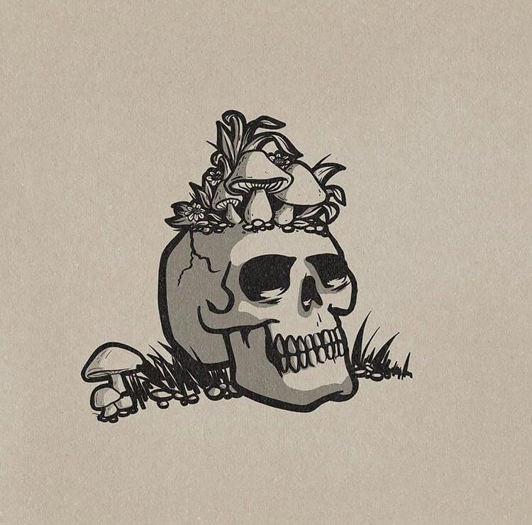 skull with mushrooms