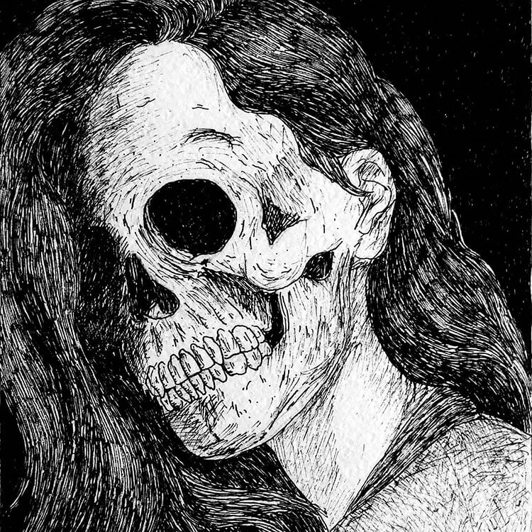 woman with skull face