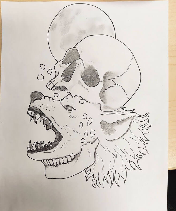 skull turning into wolf