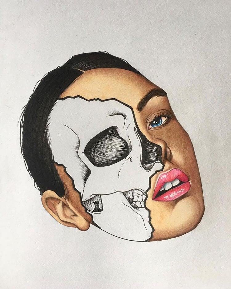 half woman half skull face