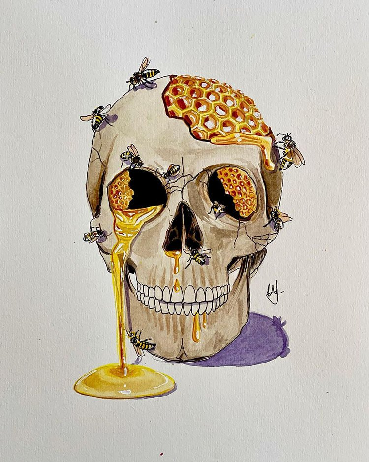 skull with bees and honeycomb