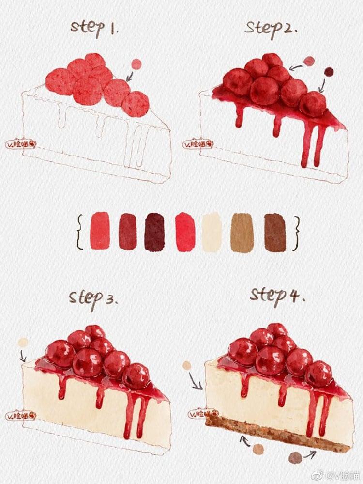 watercolor cherry cheesecake