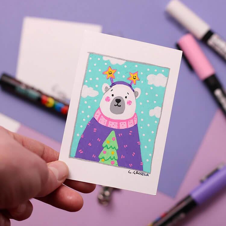 painted christmas polar bear