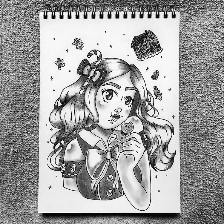 girl eating gingerbread cookie