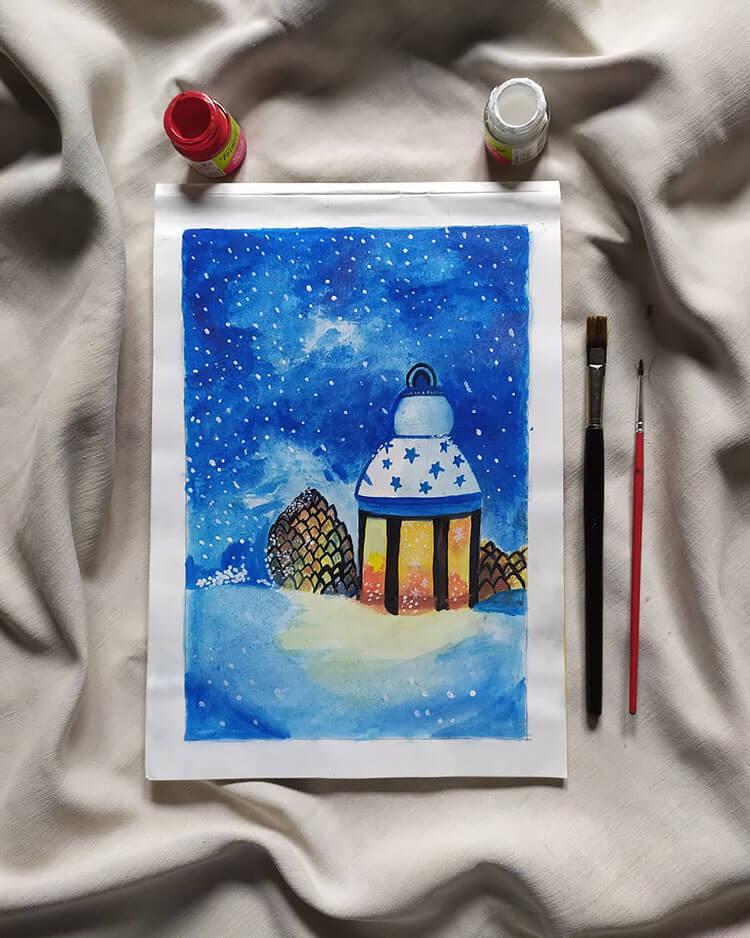 lamp in snow