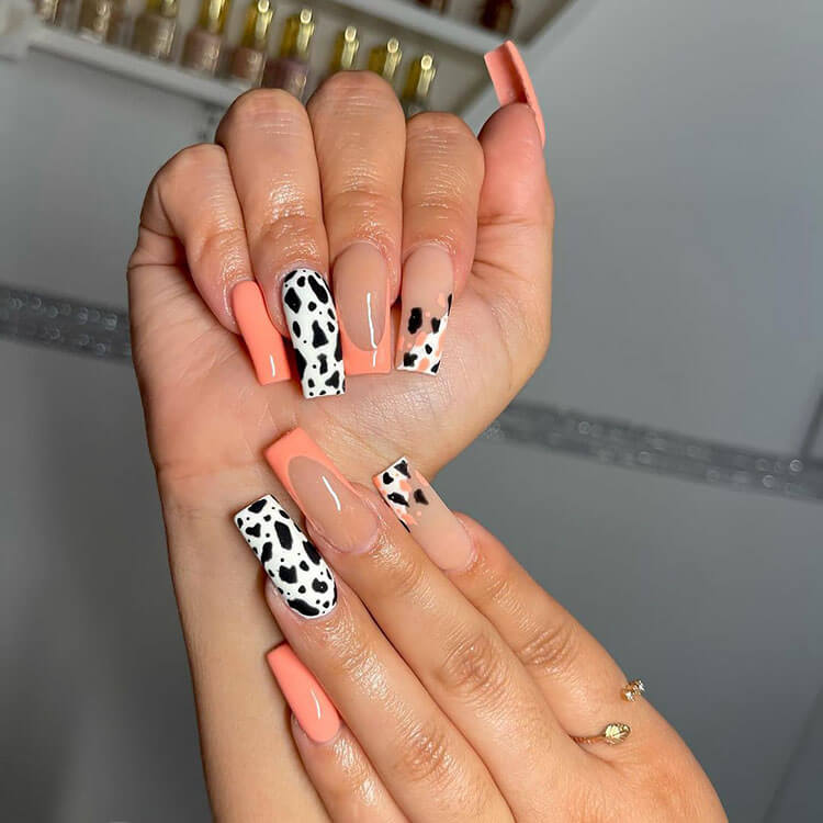 coral and spotted nails