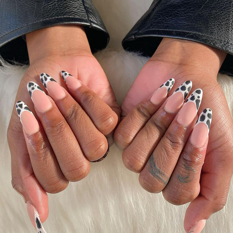 spotted french tip nails