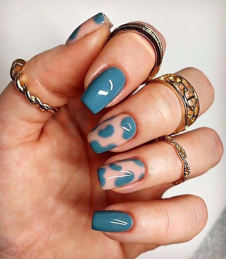 blue cow print nails