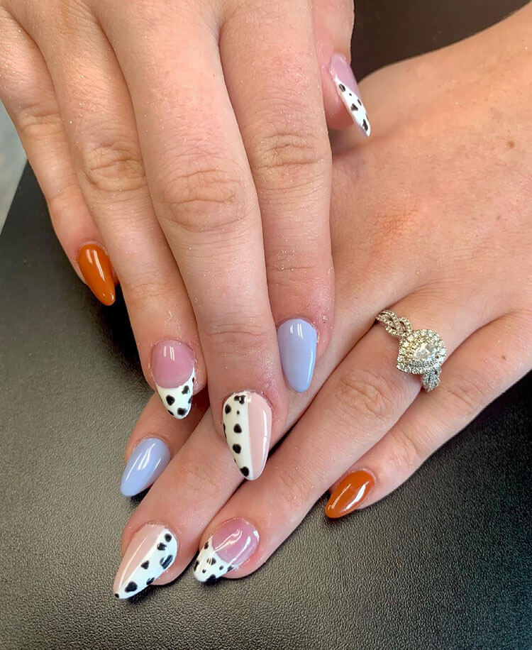 fall cow print nails