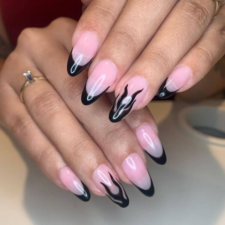 Clear Nails with Black French Tip