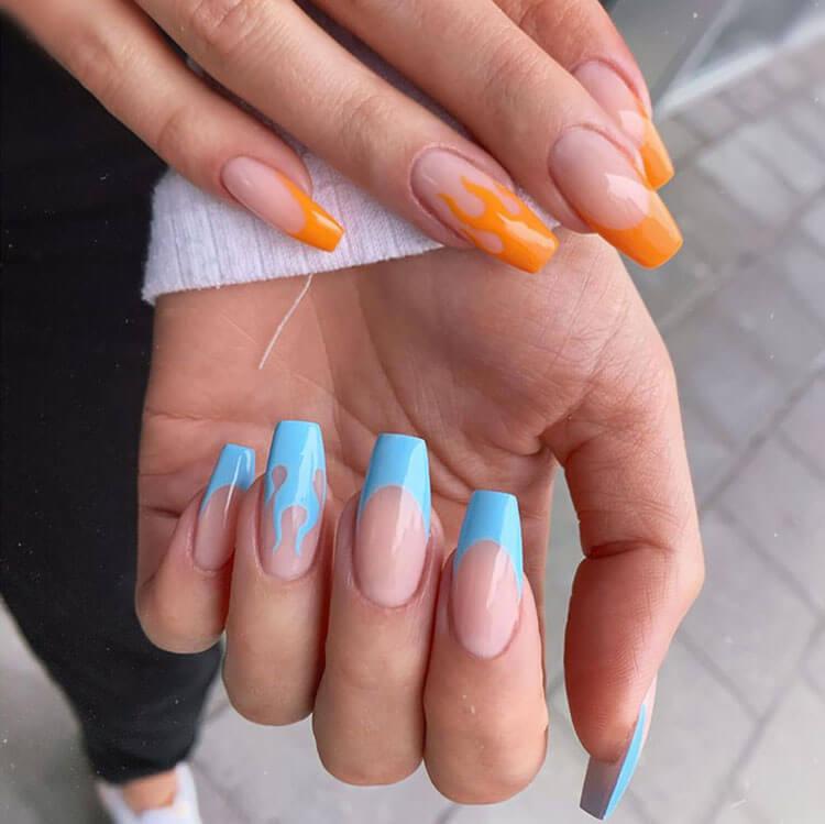 orange and blue flame nail design