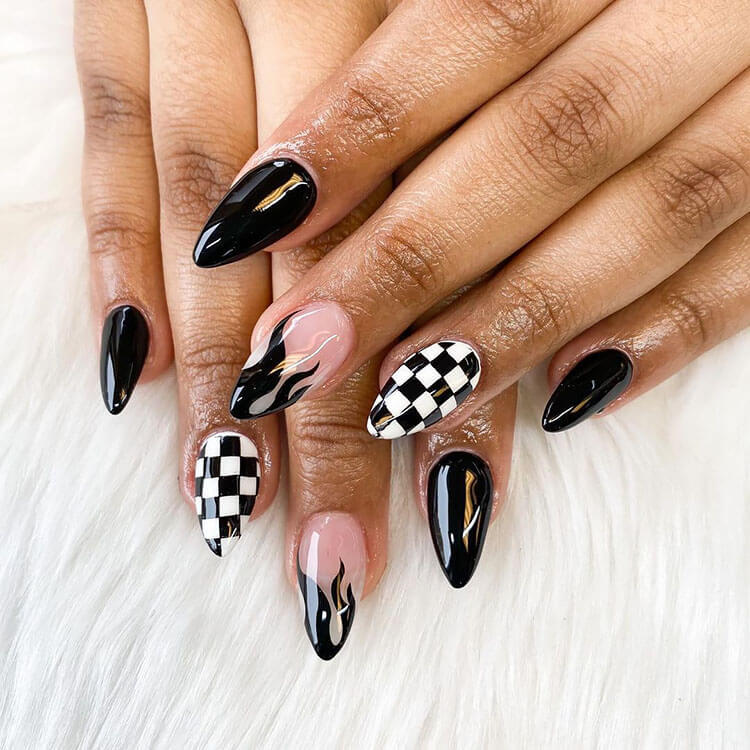 black flame with checkered design