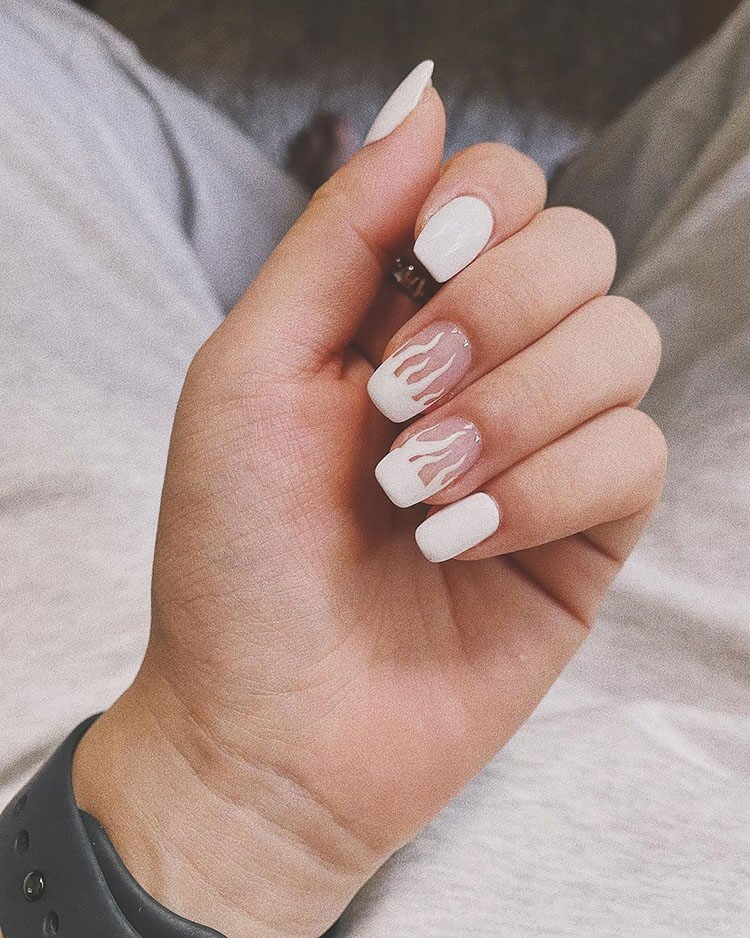 white square nails with white flame