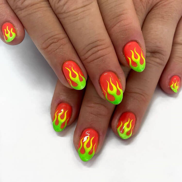 red green and yellow nails
