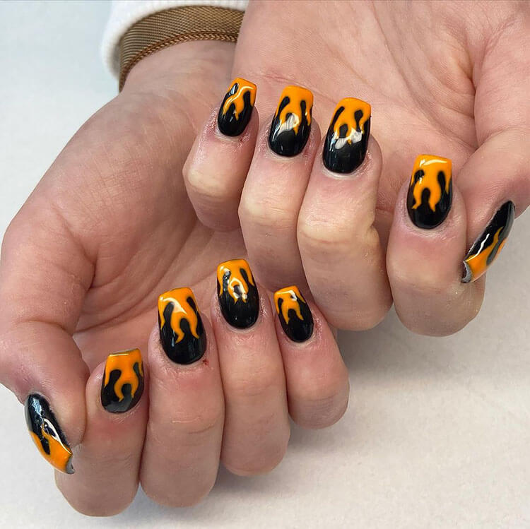 black and orange flames for Halloween