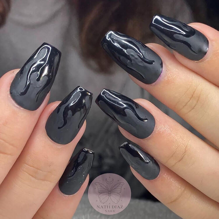 Matte nails with Glossy Flame