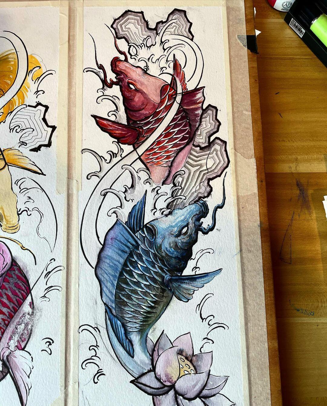 blue and red koi fish
