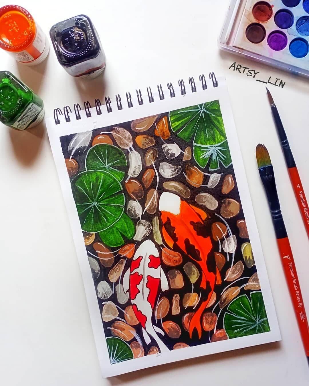 koi fish acrylic painting