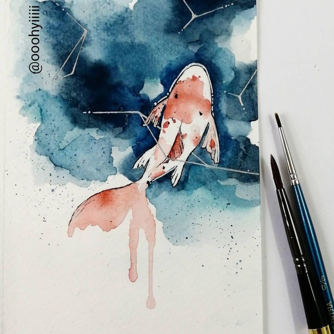 koi fish watercolor painting