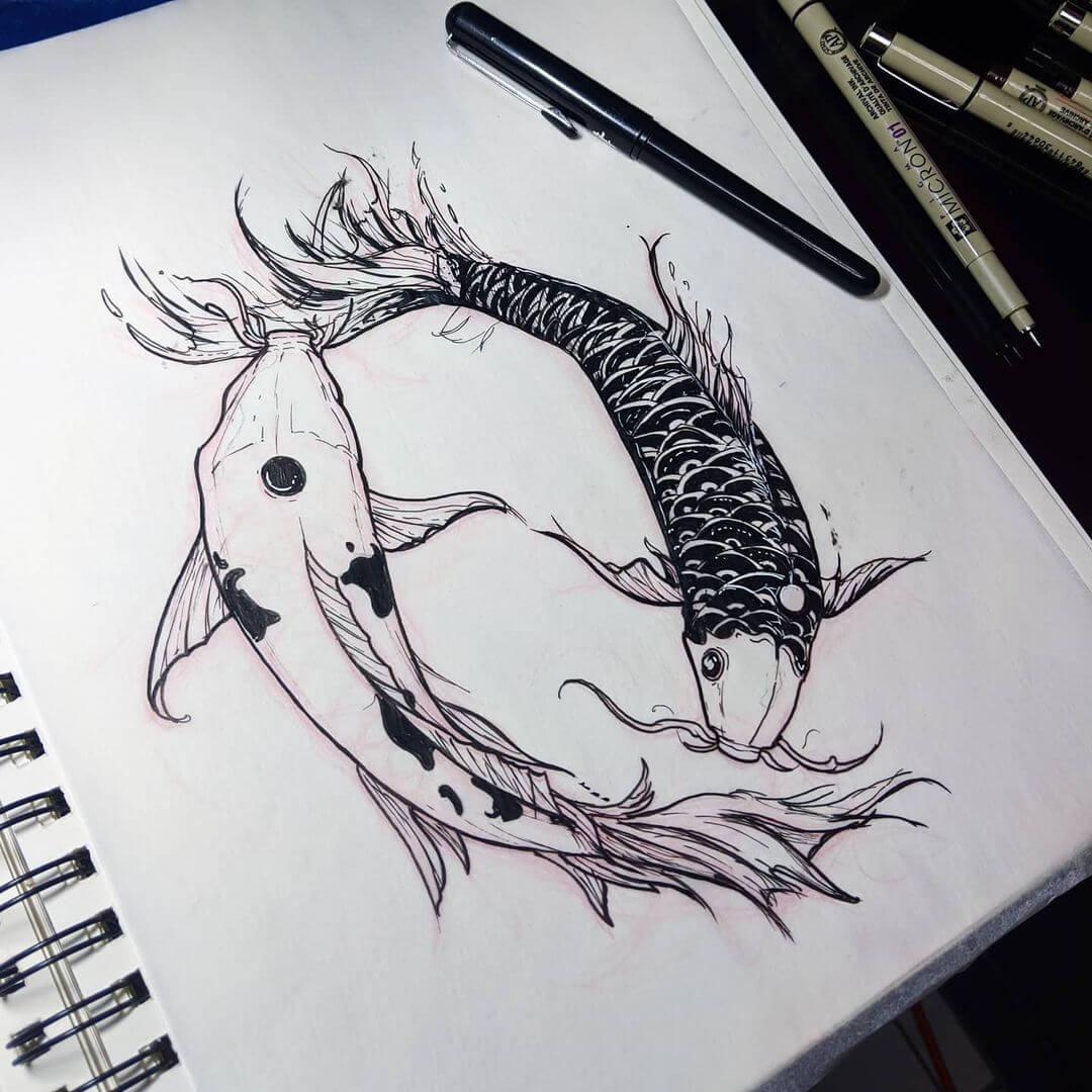 yin and yang koi fish sketch