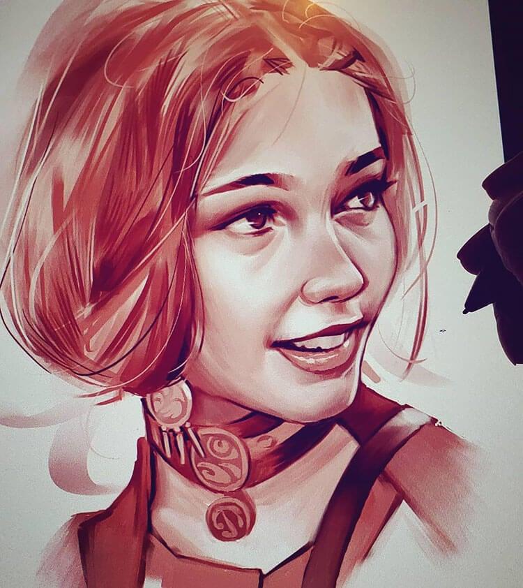 digital sketch portrait