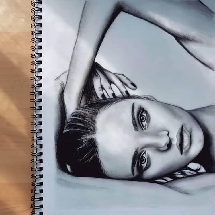 realistic girl drawing
