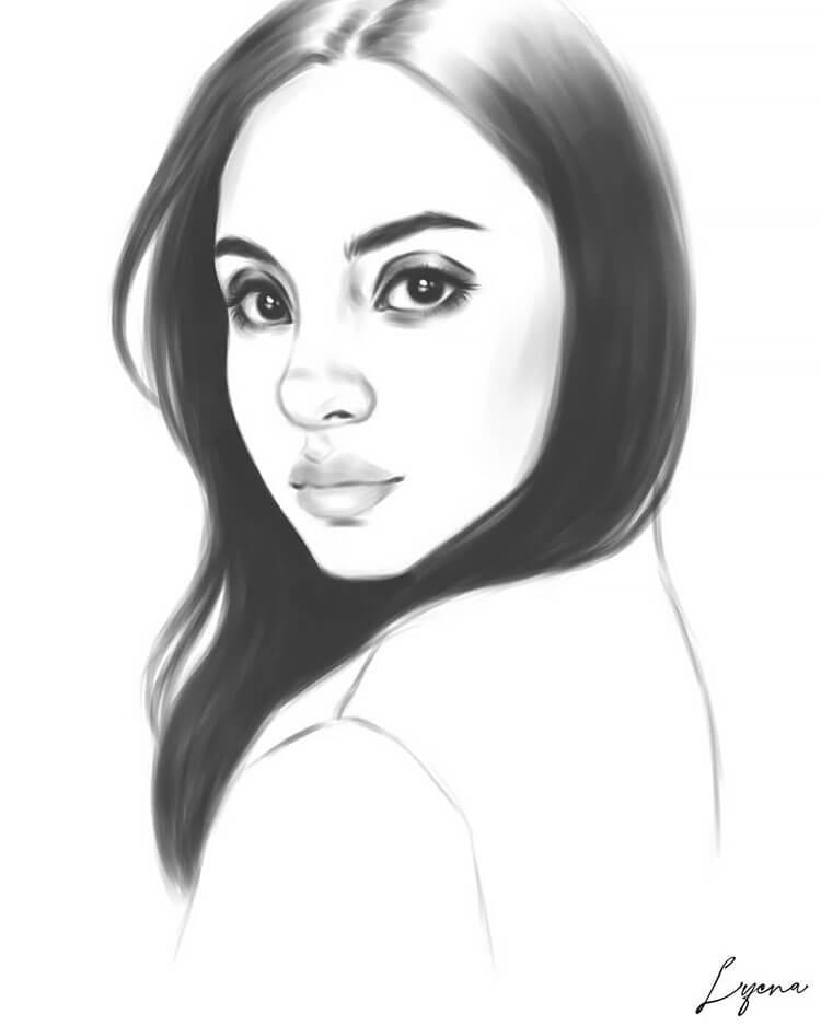 simple girl drawing