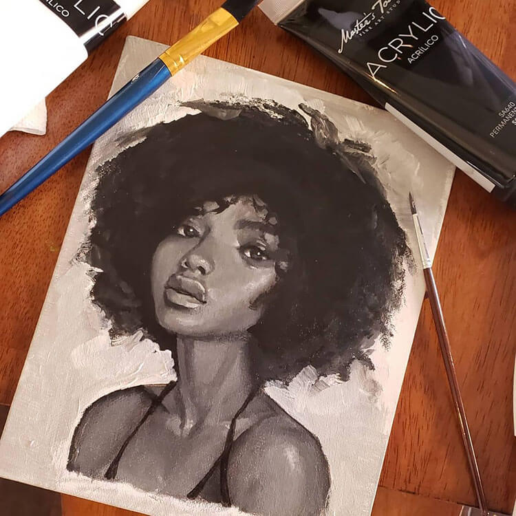 black girl with afro
