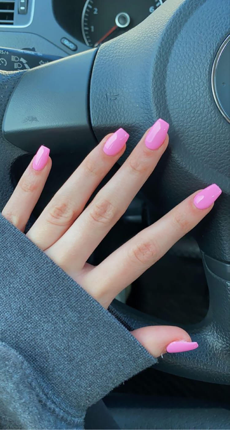 short pink coffin nails