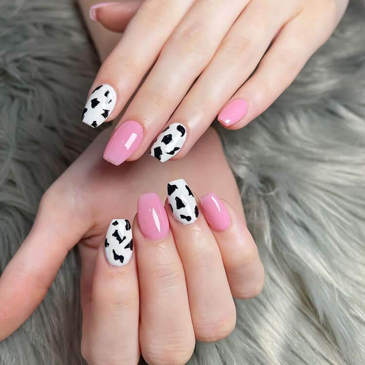 pink cow print nails