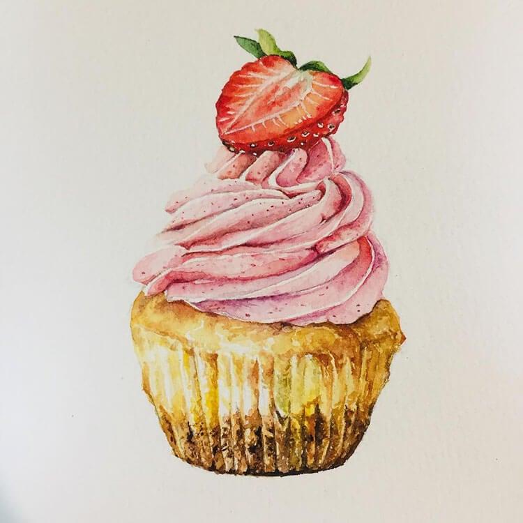 pintura de cupcake de crema de fresa