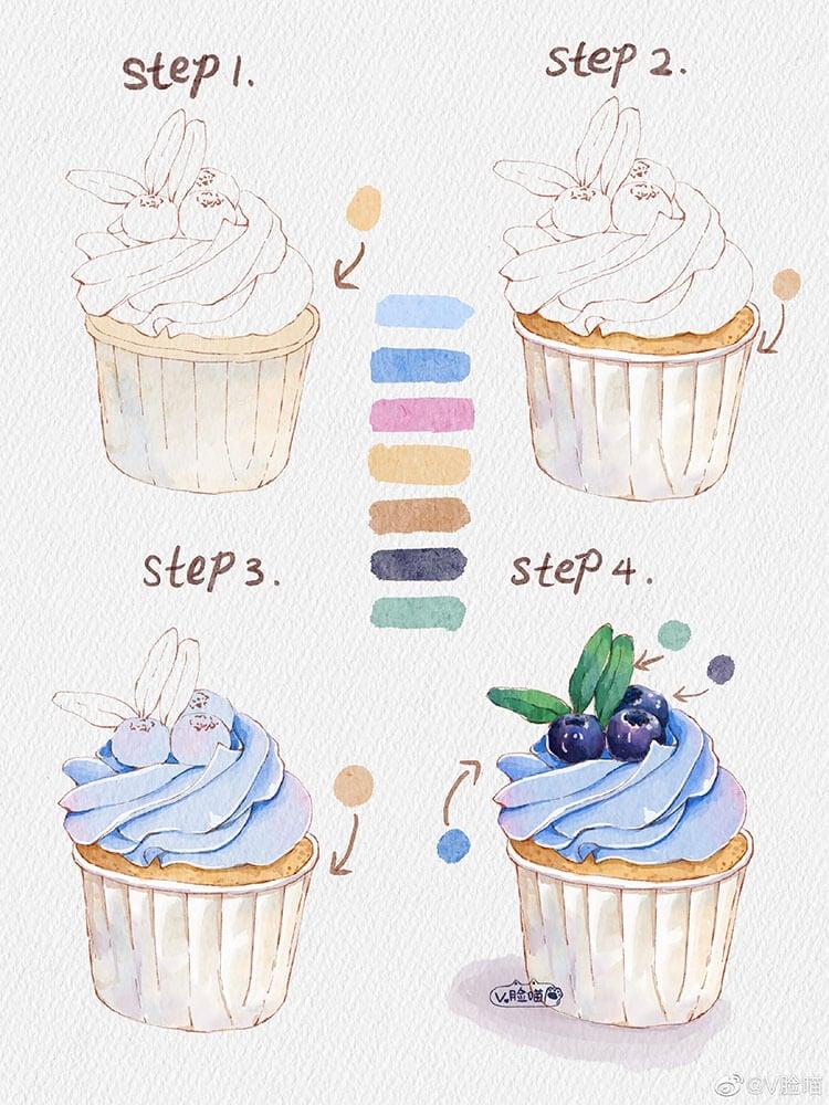 como pintar un cupcake