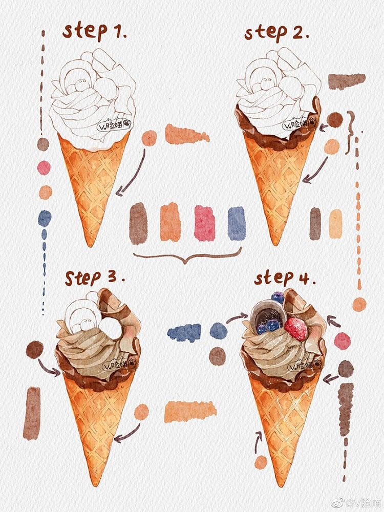 pintura de helado de acuarela