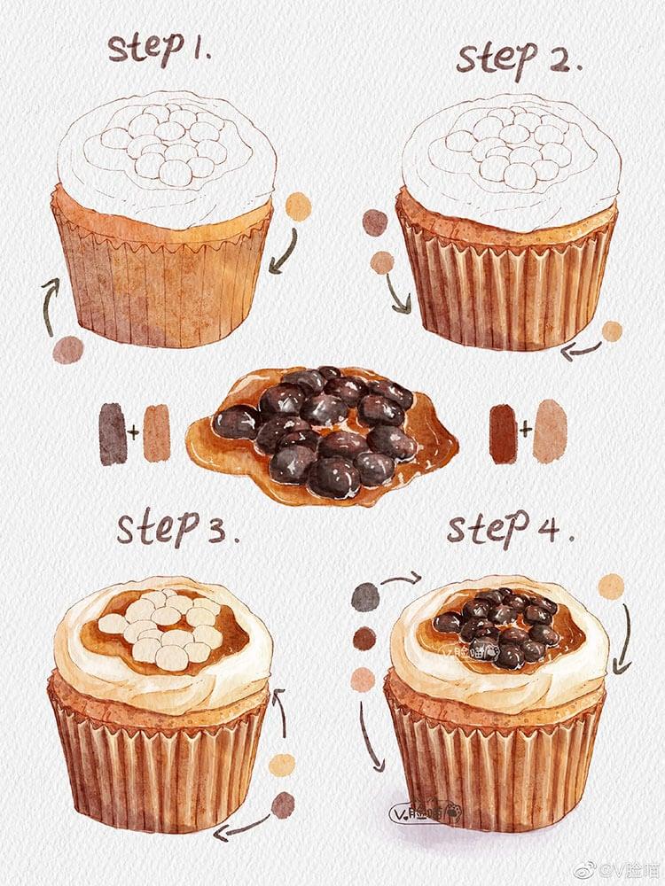 pintura de la magdalena del café