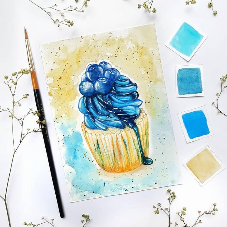 pintura de cupcake de arándanos