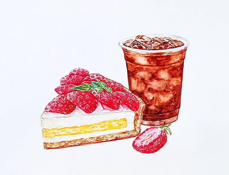 pintura de pastel de fresa