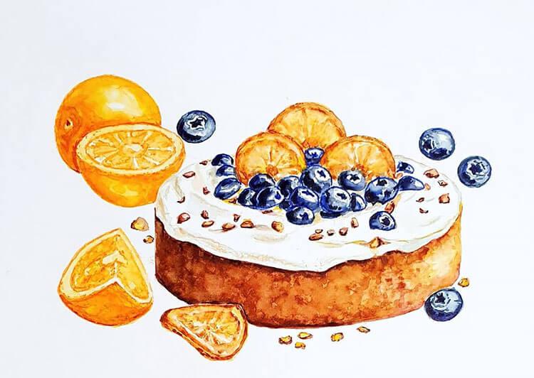 pintura de pastel de arándanos
