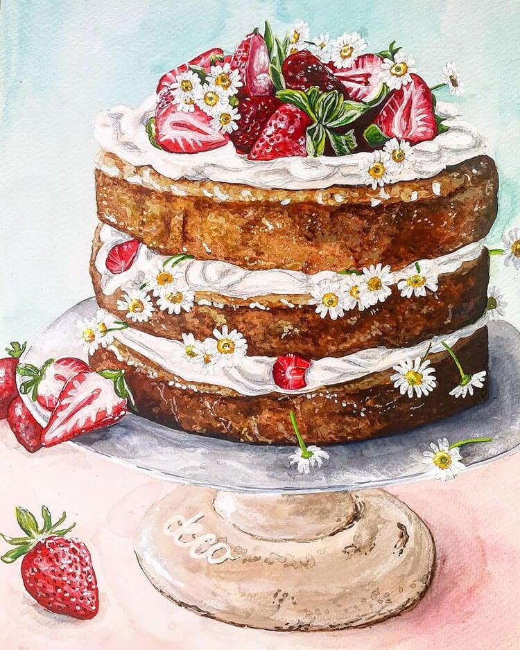 pintura de pastel de tres capas