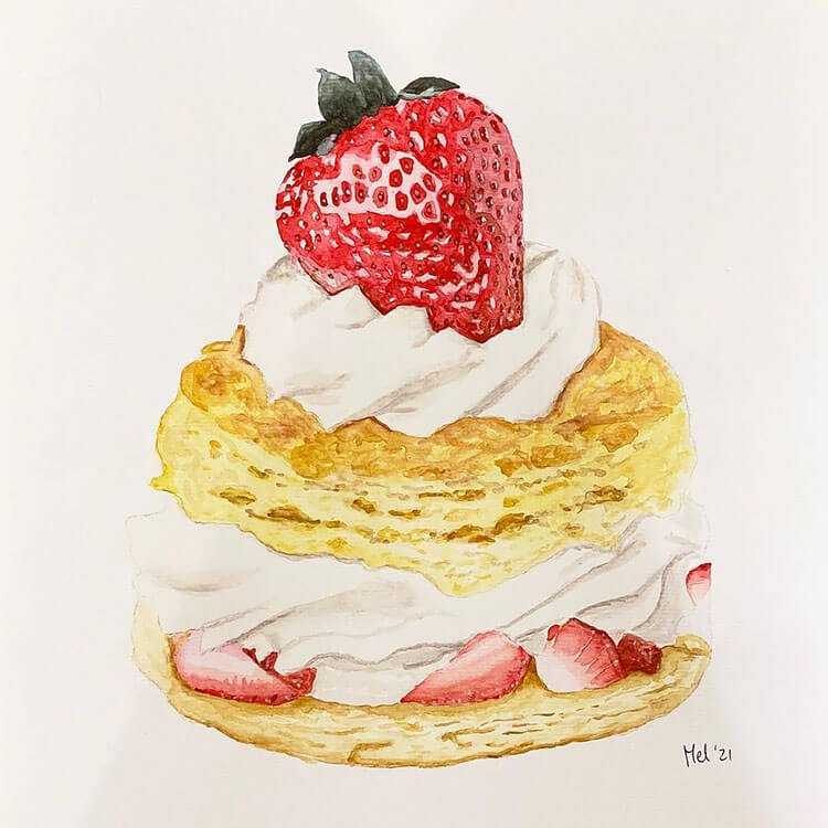 tarta de fresa acuarela
