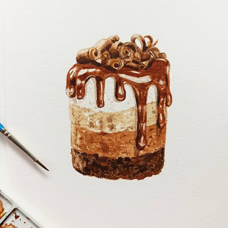 pequeña pintura de pastel de chocolate