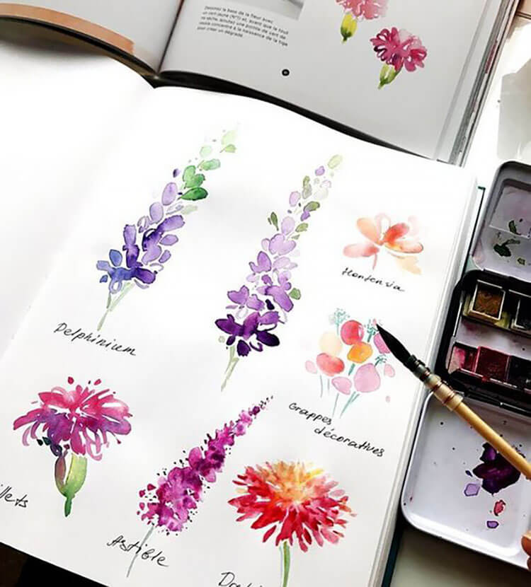 lavender and other watercolor flowers