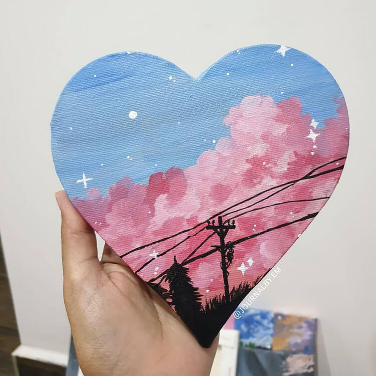 heart canvas painting with night sky