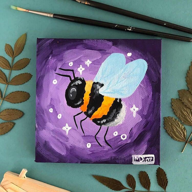 acrylic bee painting